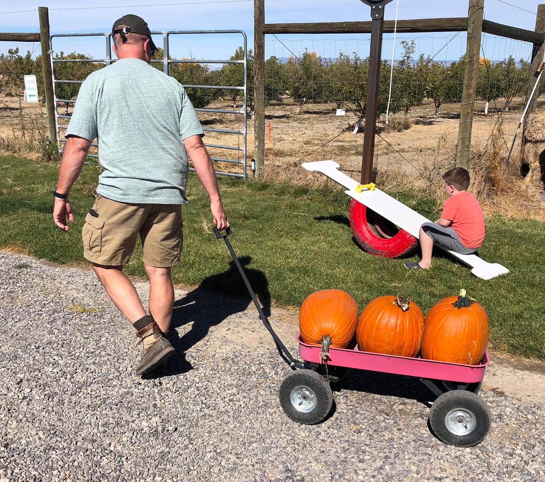 Wagon with Pumpkins