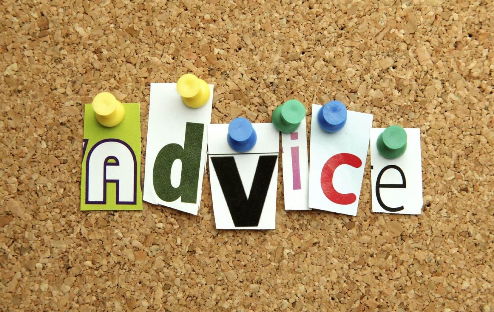 Advice tacked up on corkboard